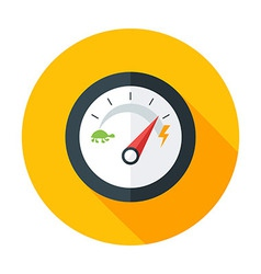 Slow and fast speedometer flat circle icon with vector