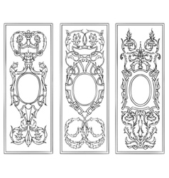 Ornate antique frames set vector