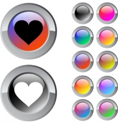 heart multicolor button vector image