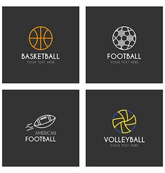 Set of line art logotype templates with sport vector