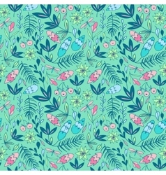 Colorful seamless pattern with forest elements vector