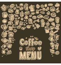 Hand drawn coffee elements set vector