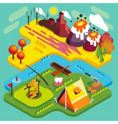 Mountain flat landscape isometric vector
