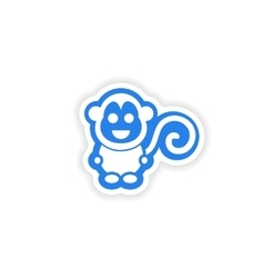 Paper sticker on white background little monkey vector