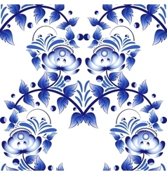 Beautiful seamless pattern with blue flowers gzhel vector image