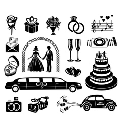 Wedding black simple icons set vector