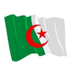 political waving flag of algeria vector image