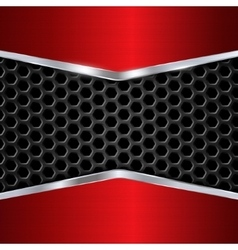 Metal background Red Chrome Metal grid vector image