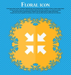 Exit full screen icon floral flat design on a blue vector