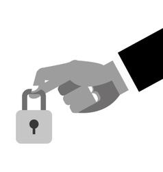 Hand holding closed padlock icon vector