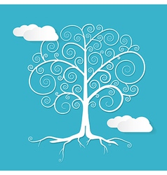 Abstract White Tree with Clouds on Blue Back vector image
