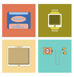 Assembly flat icon tablet gadget digital watch vector