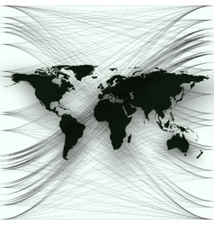 Black color world map with abstract waves and vector