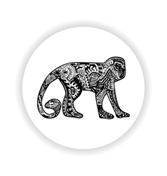 Black monkey with hand-drawn pattern vector
