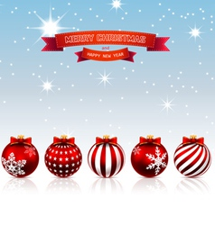 Christmas red balls vector