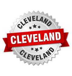 Cleveland round silver badge with red ribbon vector