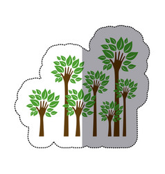 Color trees with stem in form hand icon vector