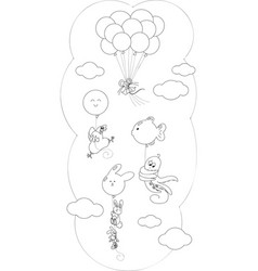 coloring animals flying with balloons vector image vector image