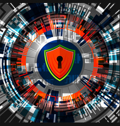 Cyber digital safety padlock vector