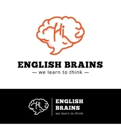 English courses logo concept brain as a vector