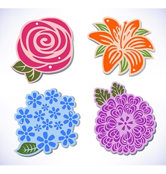 Four flowers vector