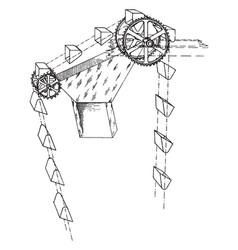 Gravity discharge bucket elevator vintage vector