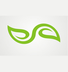 Green leaf organic abstract logo vector