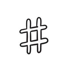 Hashtag symbol sketch icon vector