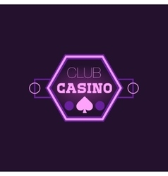 Hexahedron Casino Purple Neon Sign vector image
