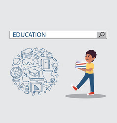 Holding book boy with education search engine bar vector