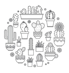 Linear design potted cactus elements of a vector