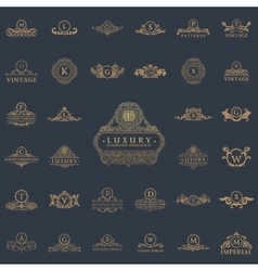Luxury vintage logos set Calligraphic emblems and vector image vector image