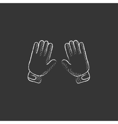 Motorcycle gloves Drawn in chalk icon vector image