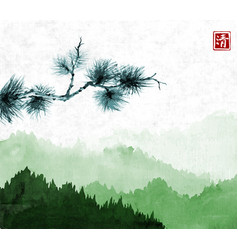 Pine tree branch an green mountains with forest vector