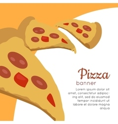 Pizza banner italian snack with cheese and tomato vector