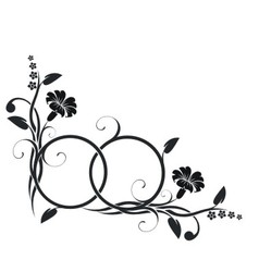 Rings with floral decor vector