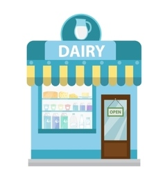 Shop with dairy products building icon milk vector