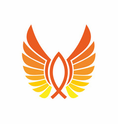 Symbol of fish and wings vector