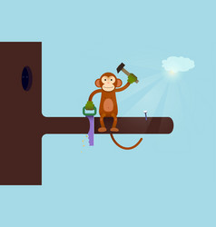 This webpage is under construction concept monkey vector