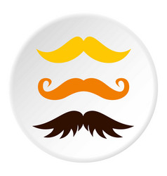 Three kind of moustache icon circle vector
