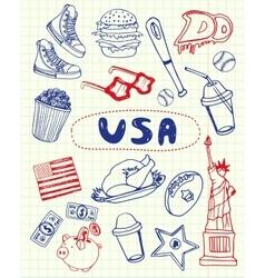Usa symbols pen drawn doodles collection vector