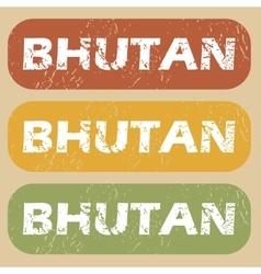 Vintage bhutan stamp set vector