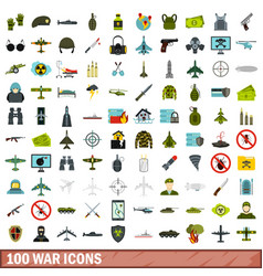100 war icons set flat style vector image