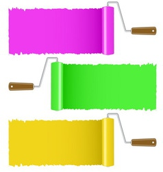 Set of colorful paint roller brush vector