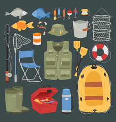 fishing outdoor vacation fun activity icons set vector image