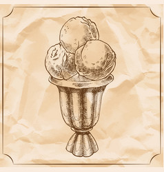Cocktail glass of ice cream vintage hand vector