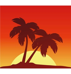 Sunset with palms vector