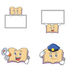 Set of open book character with board megaphone vector