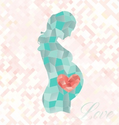 Diamond pregnant woman with heart in belly vector