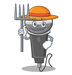 Farmer microphone cartoon character design vector